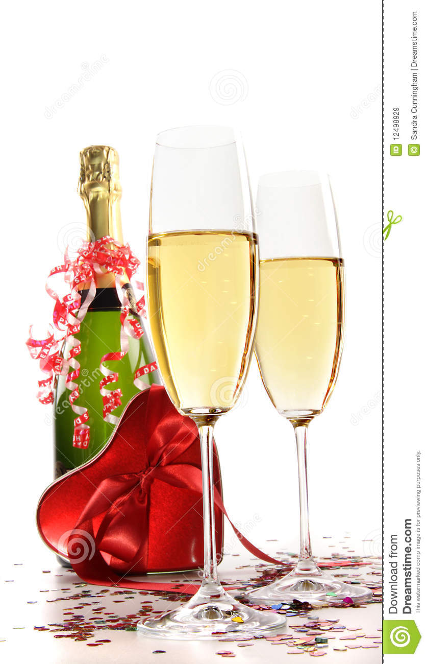 glasses of champagne with red ribbon heart stock image. Black Bedroom Furniture Sets. Home Design Ideas