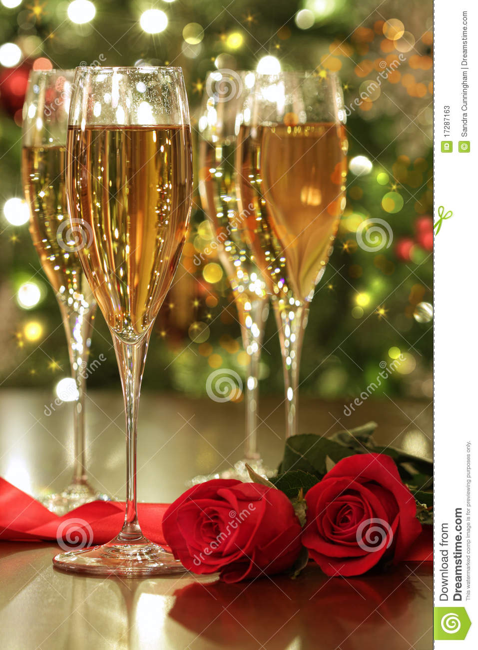 Glasses Of Champagne And Red Roses Stock Image Image Of