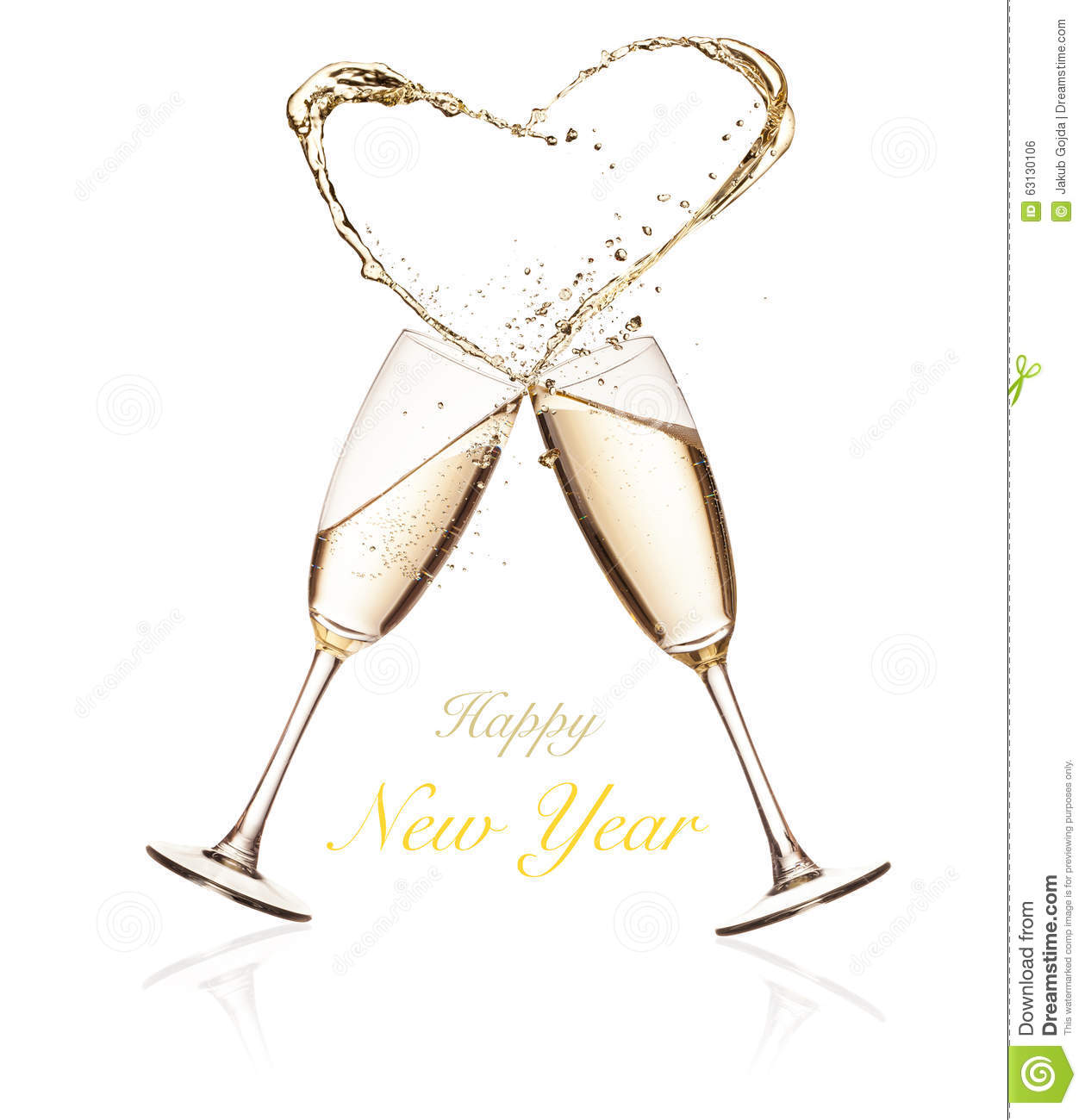 cb5c5b160366 Glasses Of Champagne With Splashing Heart On White Stock Photo ...