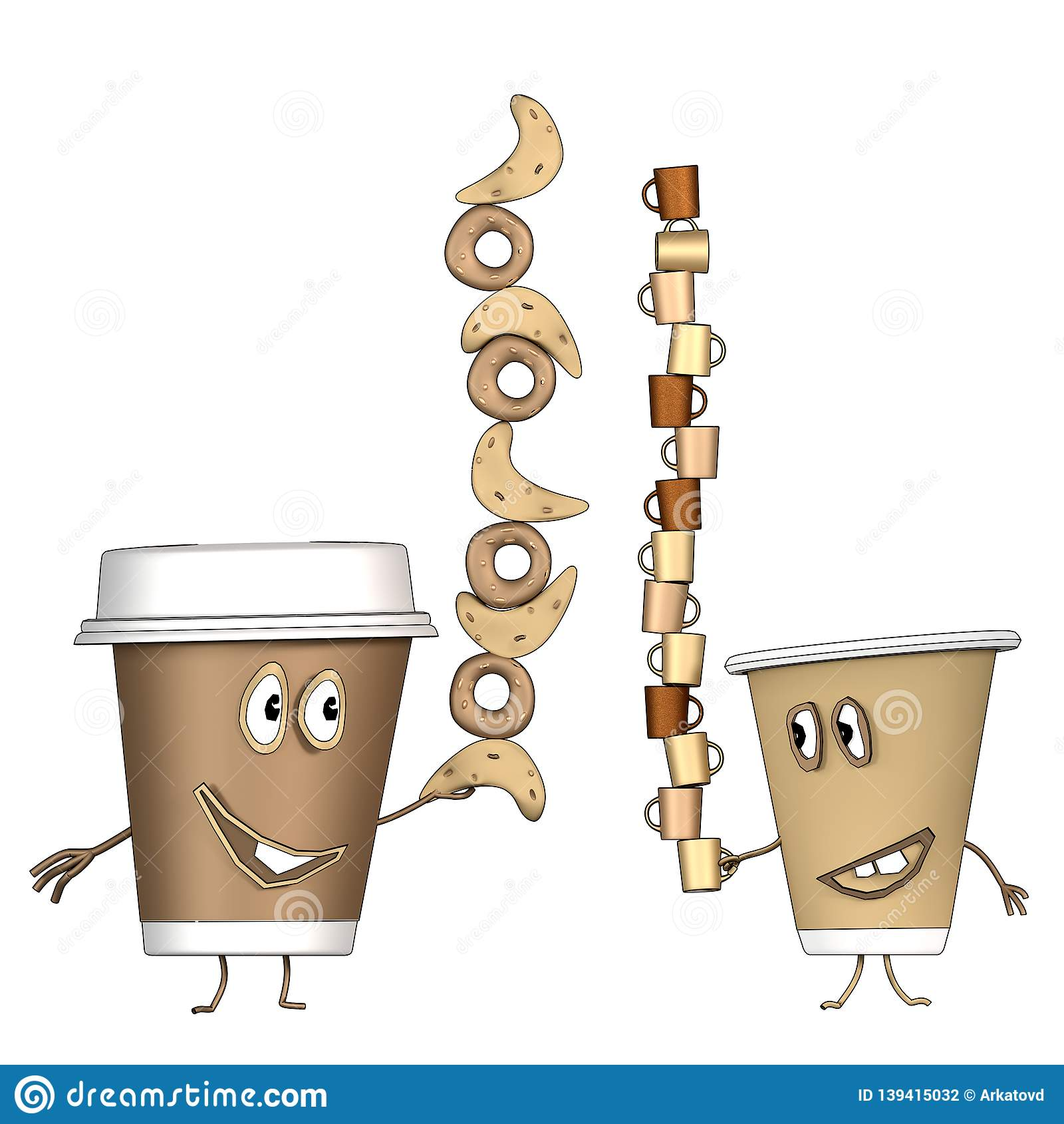 Coffee Cups With Croissant And Cup Of Coffee Cartoon Stock Illustration Illustration Of Espresso Cafe 139415032