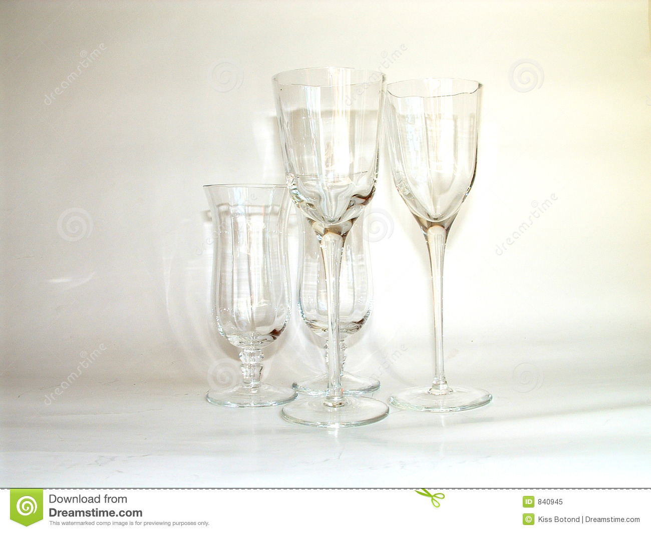 Glasses on creamy background