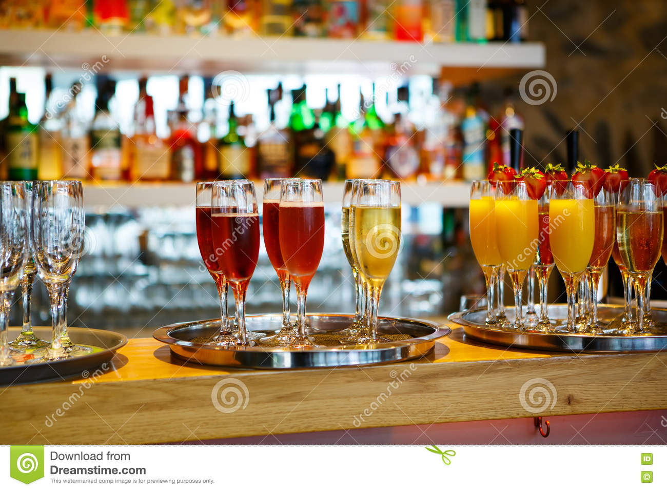 Glasses Of Different Drinks At The Wedding Reception Stock Photo