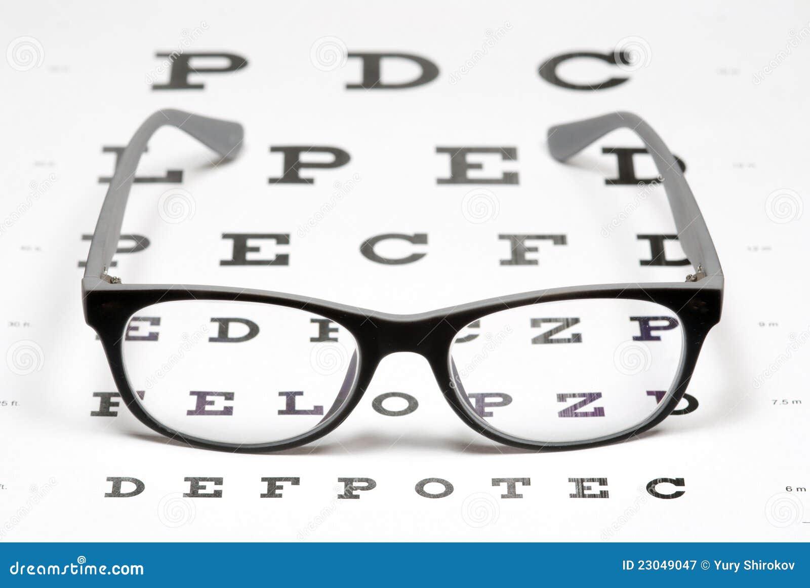 glasses on eye chart stock image image of examination