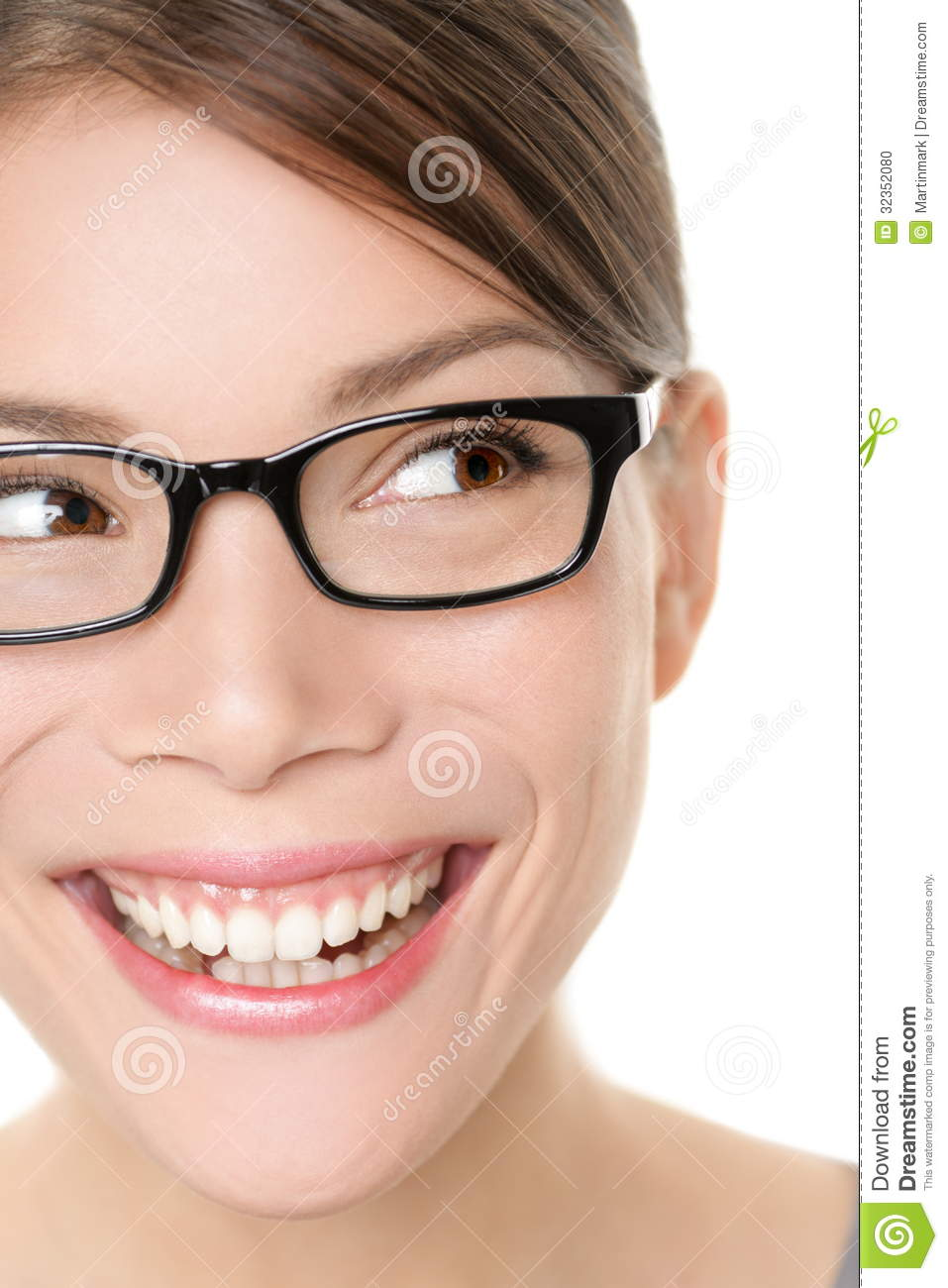 Glasses Eyewear Spectacles Woman Looking Happy Stock Photo ...