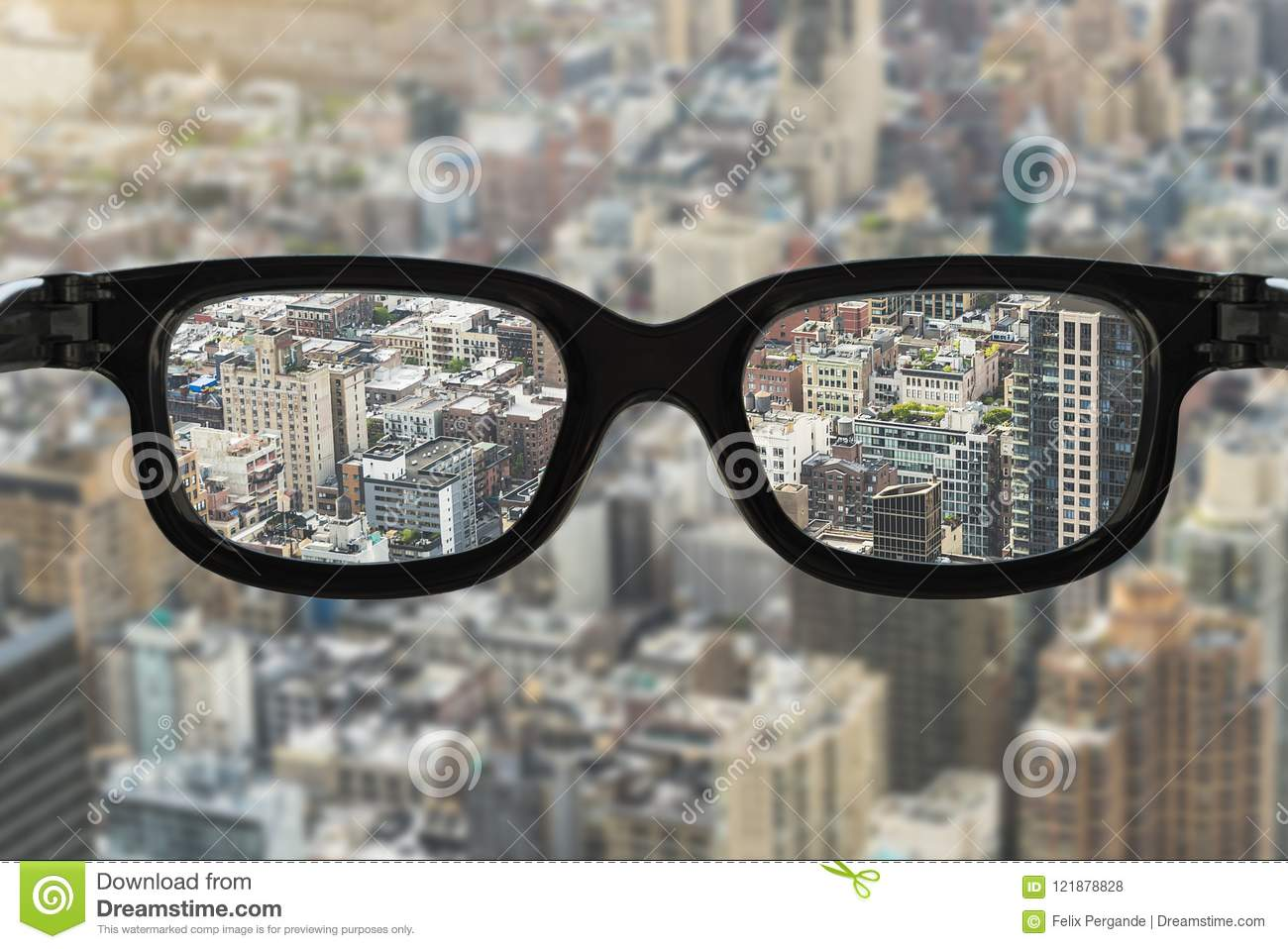 3498de9cfa Glasses focus cityscape stock photo. Image of astigmatism - 121878828