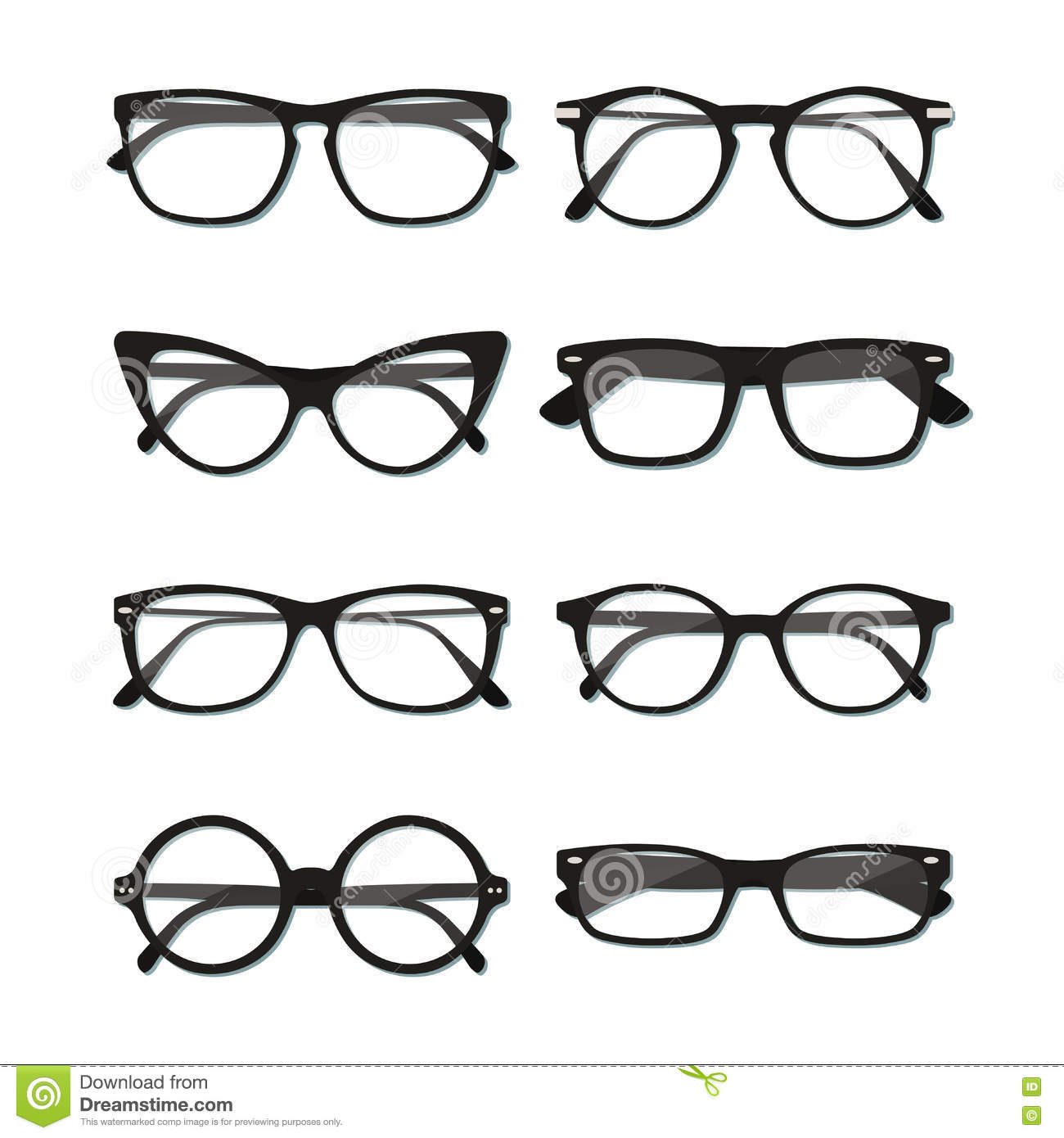 1d6b3518e7d Flat vector glasses big set illustration. Collection of different of rim  glasses types - round
