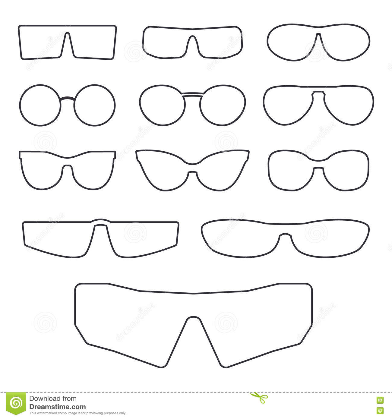 35026f5cc3 Spectacle frame on white background various design frames for sunglasses  and eyeglasses vector illustration jpg 1300x1390