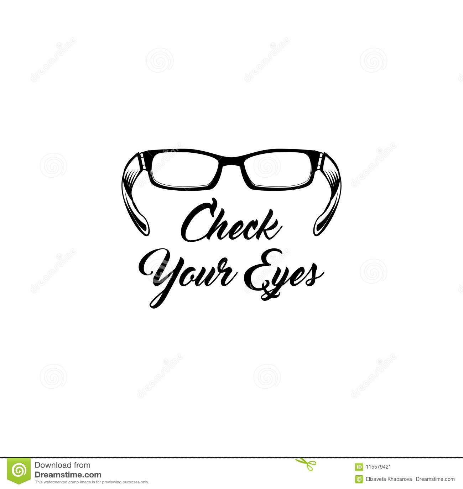 Glasses Icon Oculist Badge Check Your Eyes Inscription Eyeglasses