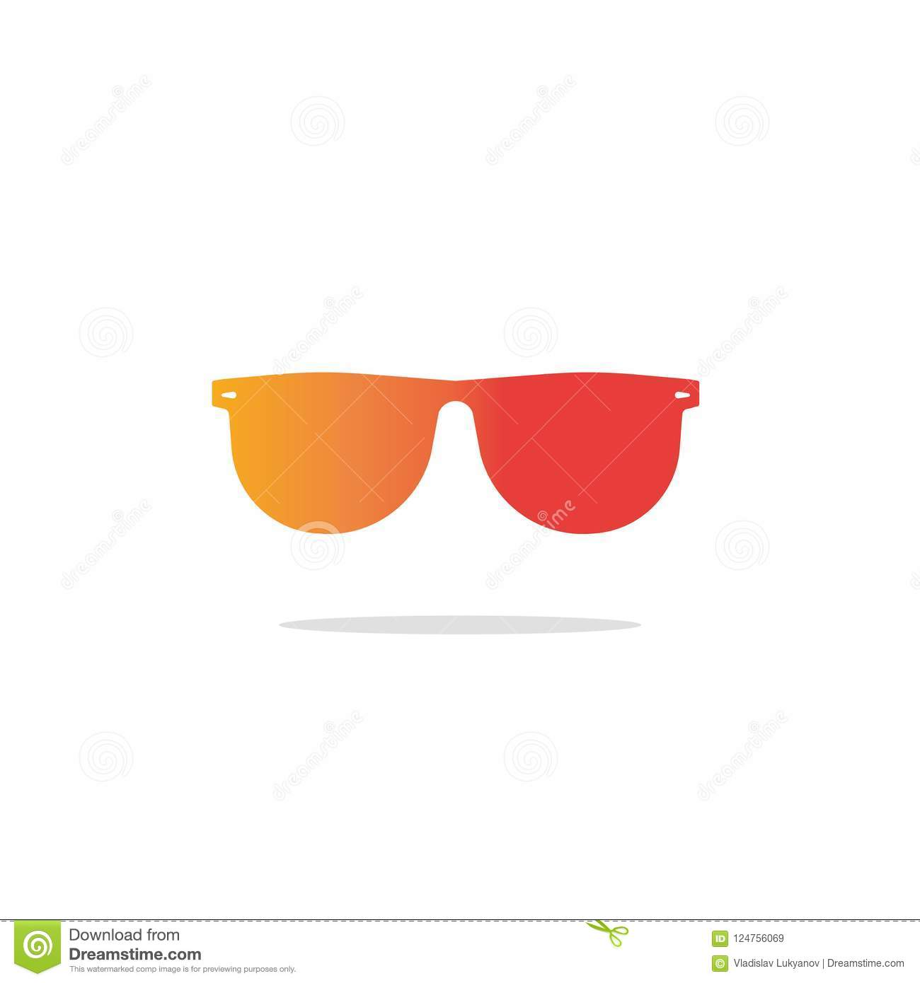 Glasses Icon Vector Flat Gradient Sunglasses Silhouette Sign Or