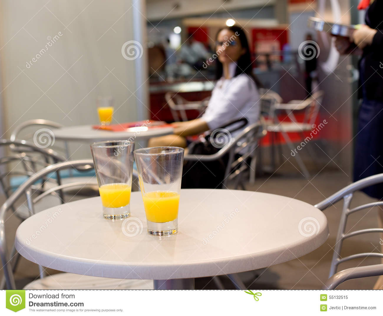 Glasses Of Juice On The Bar Table Stock Image - Image of ...