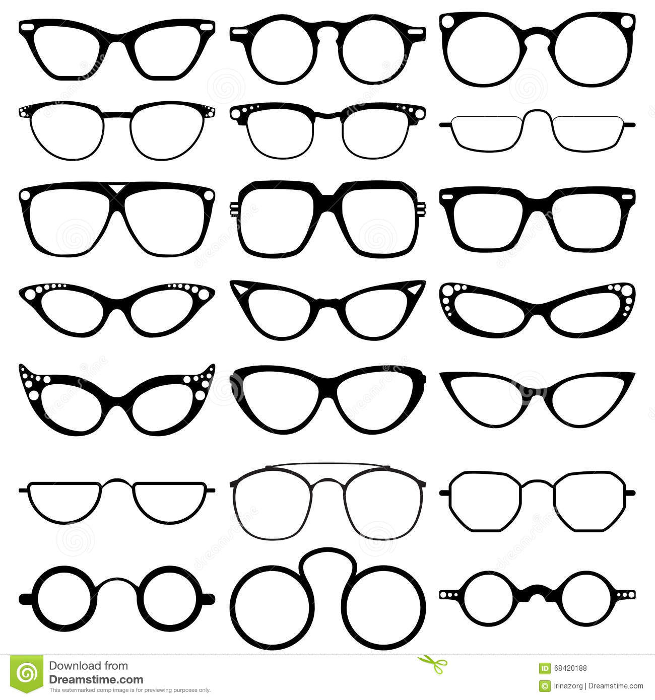 Glasses Model Icons, Man, Women Frames. Sunglasses, Eyeglasses On ...