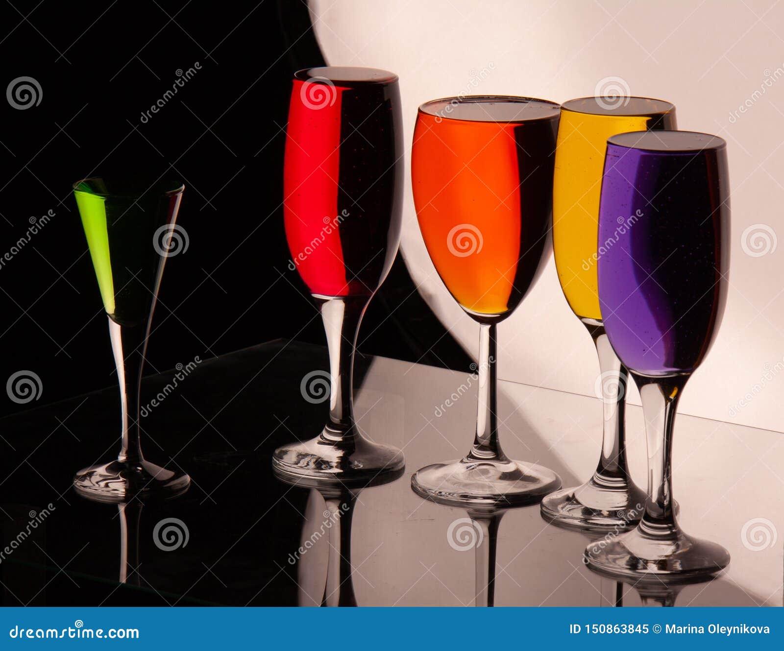 Glasses with multi-colored liquid