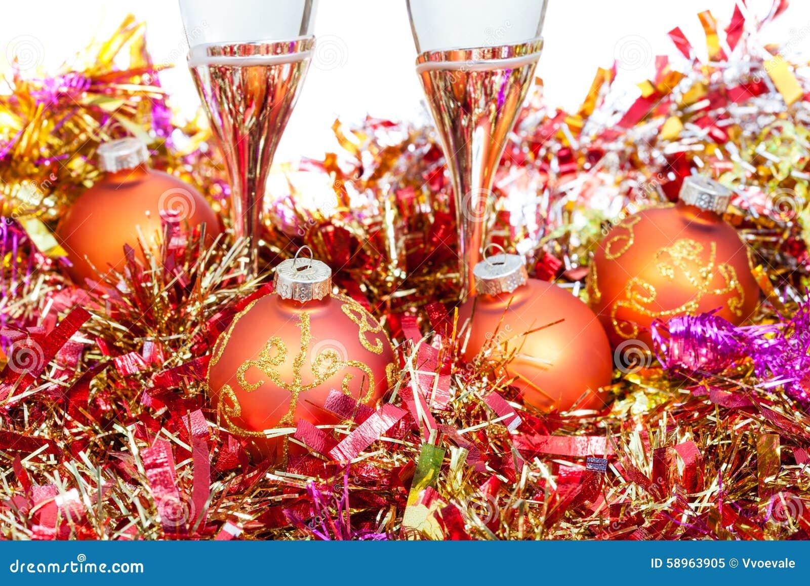 Glasses At Orange Xmas Decorations Close Up Stock Photo