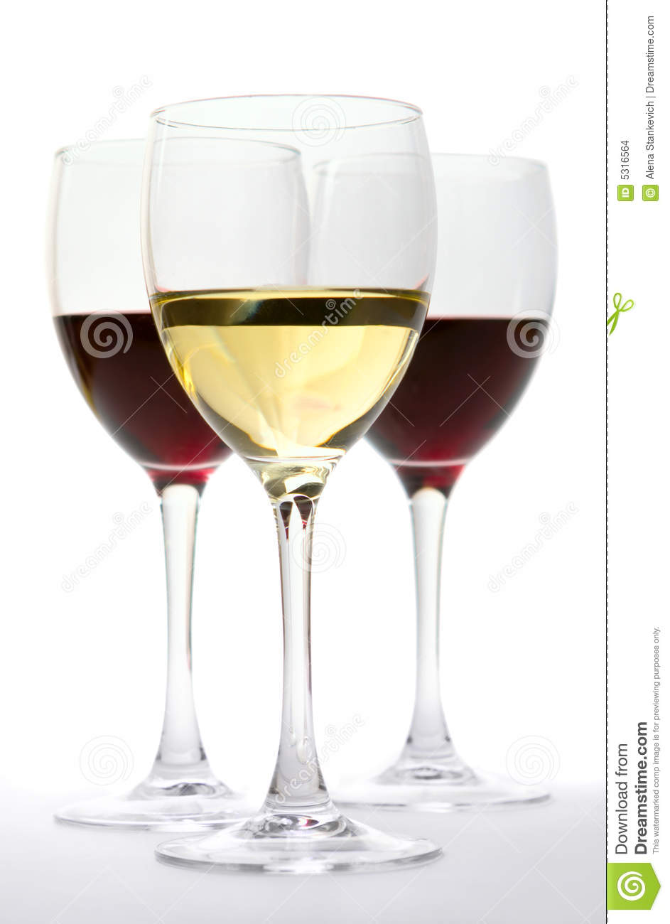 Glasses Of Red And White Wine Stock Images - Image: 5316564