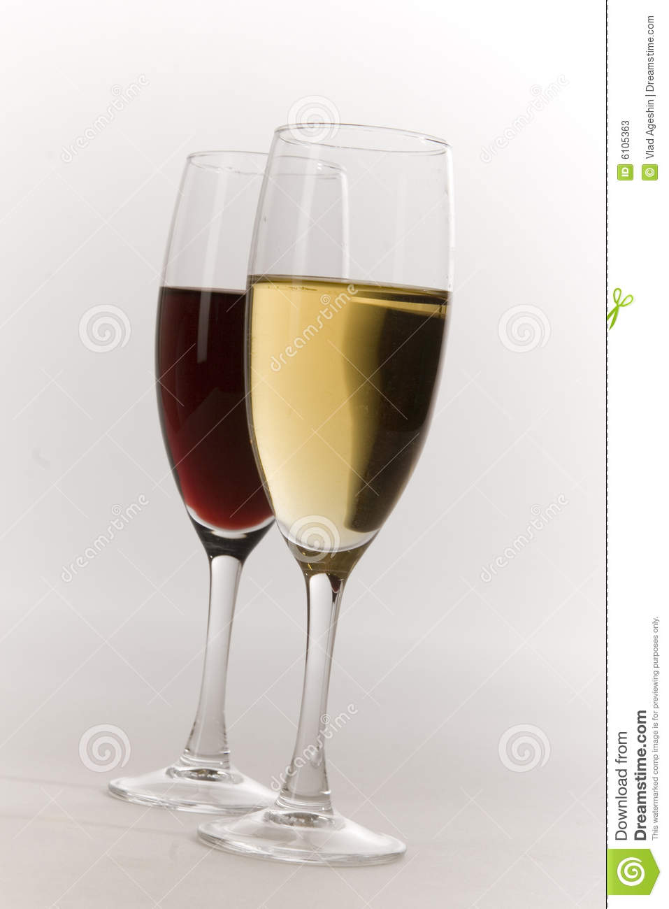 Glasses Of Red And White Wine Stock Photos - Image: 6105363
