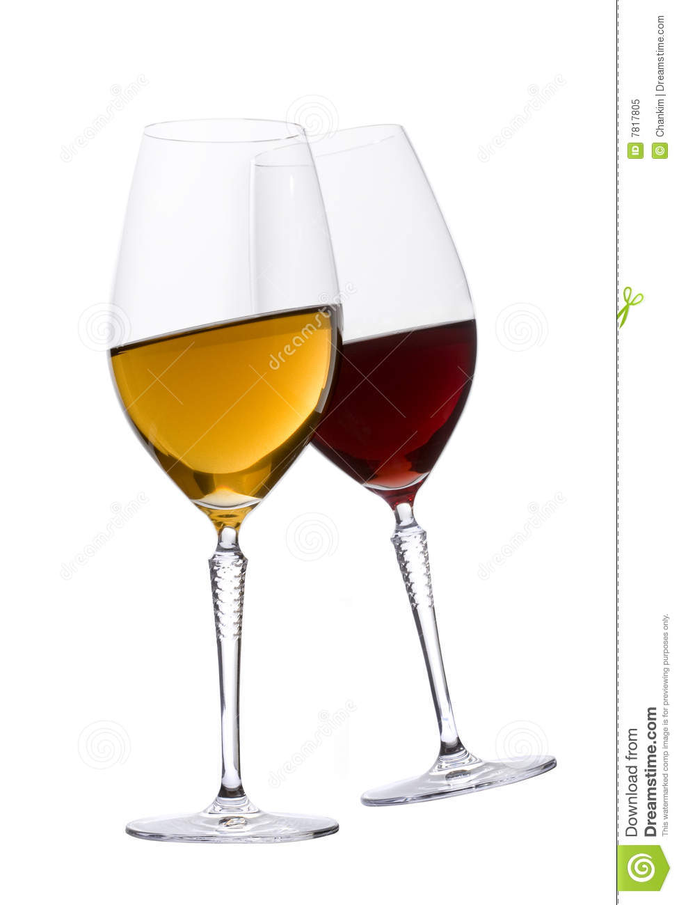 Glasses of red and white wine royalty free stock photo for Cocktail 0 base de vin blanc