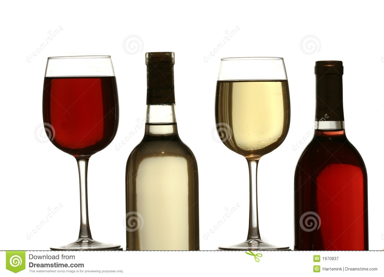 Glasses Of Red And White Wine, With Red And White Wine ...