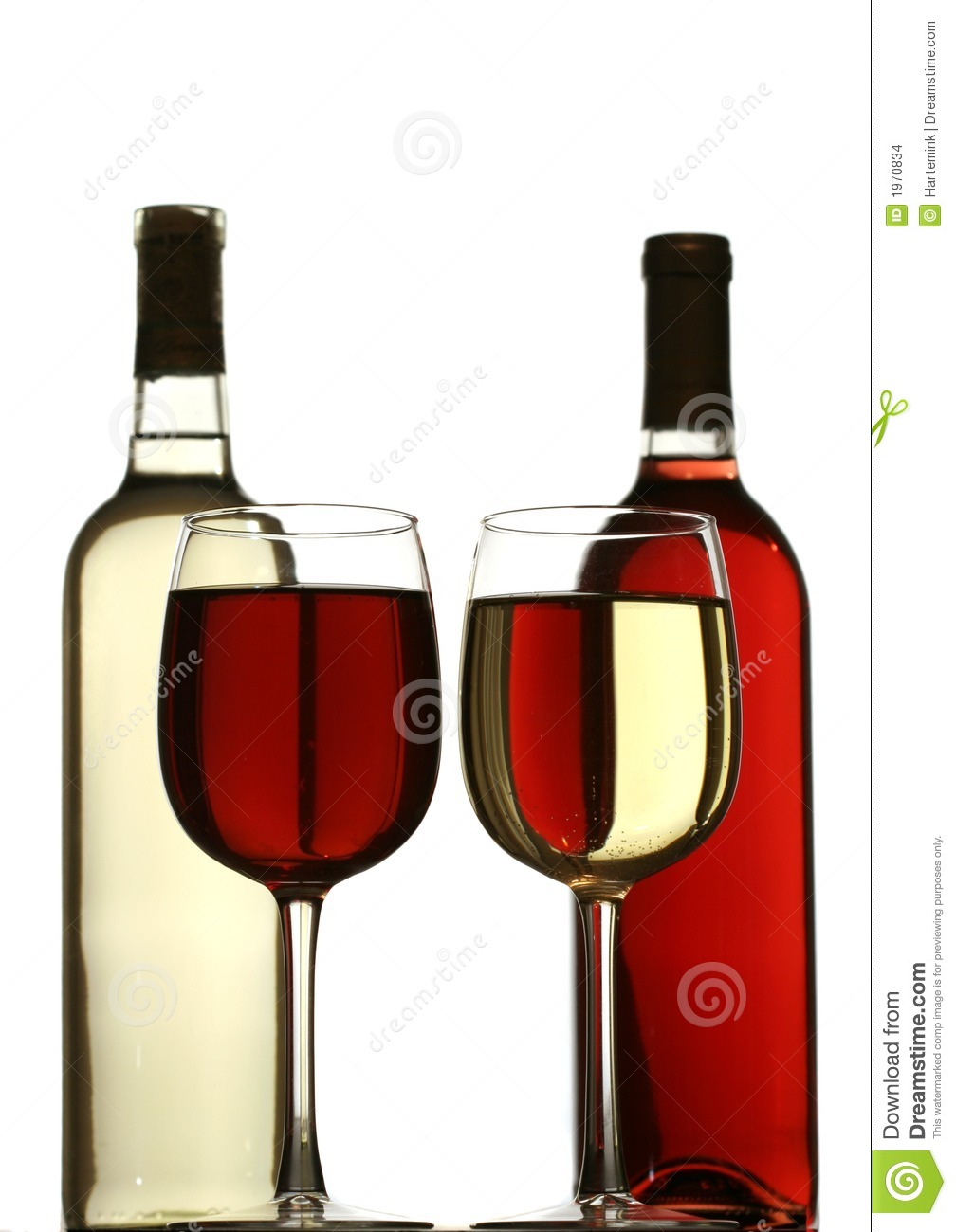 Glasses Of Red And White Wine With Red And White Wine