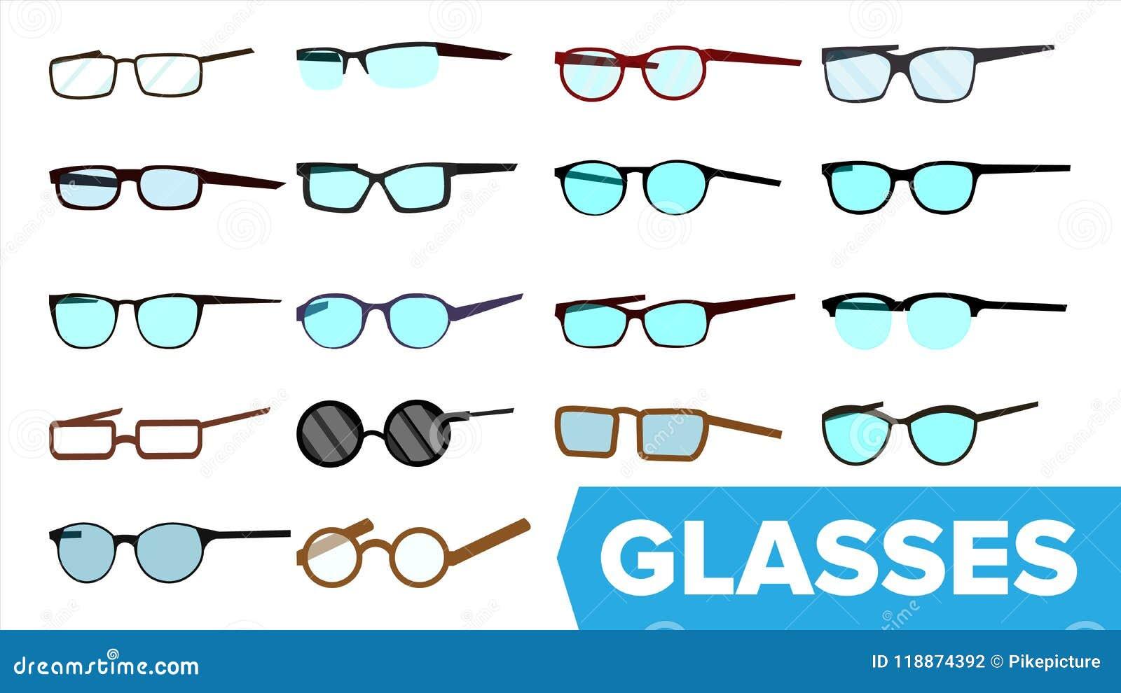 a4e87c8b00b Glasses Set Vector. Modern Glasses Icon. Different Eyewear Types. Eyeglasses  With Frame. Blue Lense. Cartoon Isolated Illustration