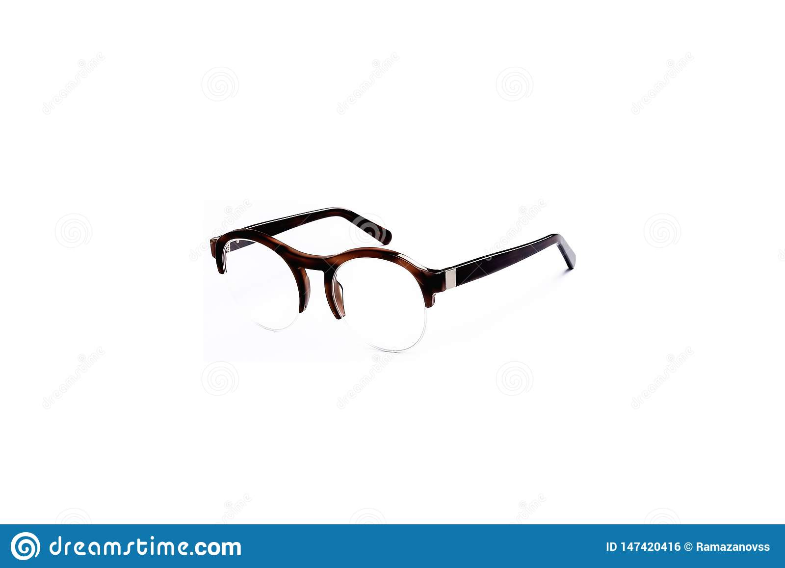Glasses with transparent glasses in a fashionable frame on an isolated white background