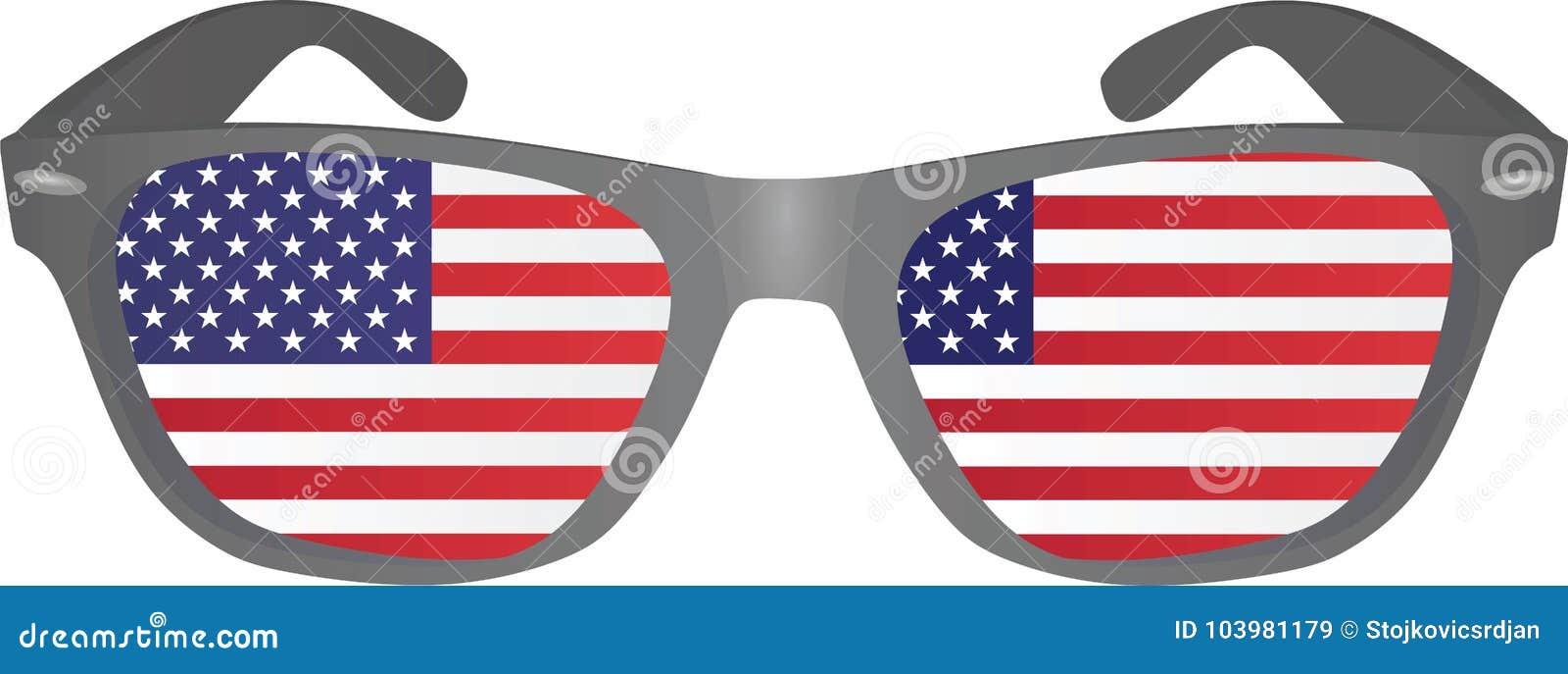 1184e153e5b Glasses With Usa Flag Inside Stock Vector - Illustration of nerd ...