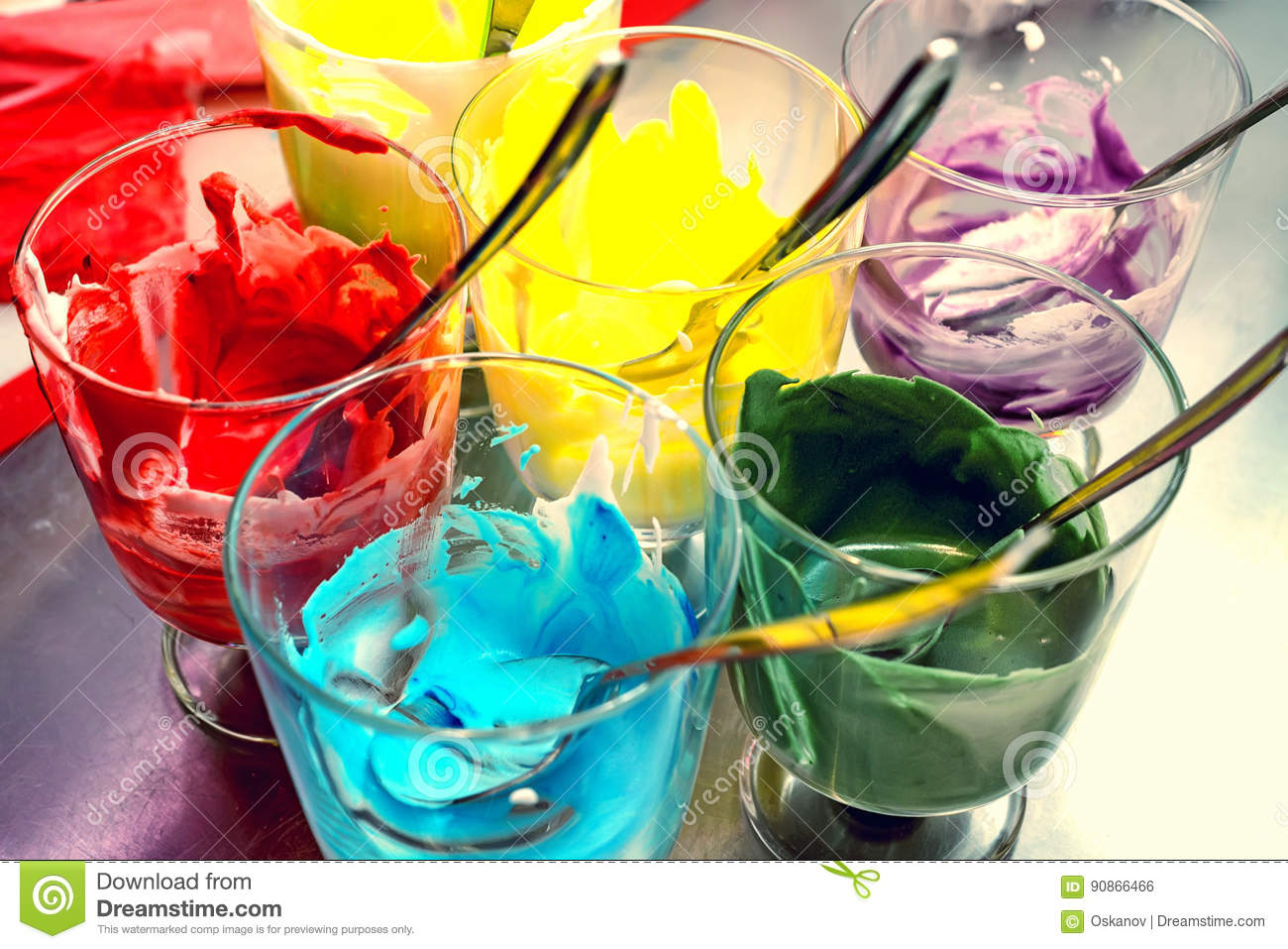 Glasses Of Various Food Coloring Stock Photo - Image of bright ...