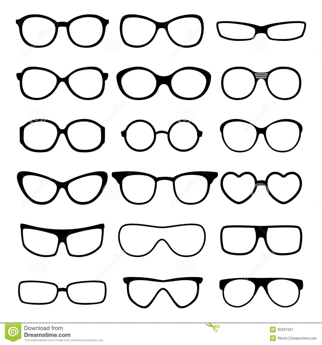 Eyeglass Frame Vector : Glasses Vector Set. Stock Image - Image: 35331591