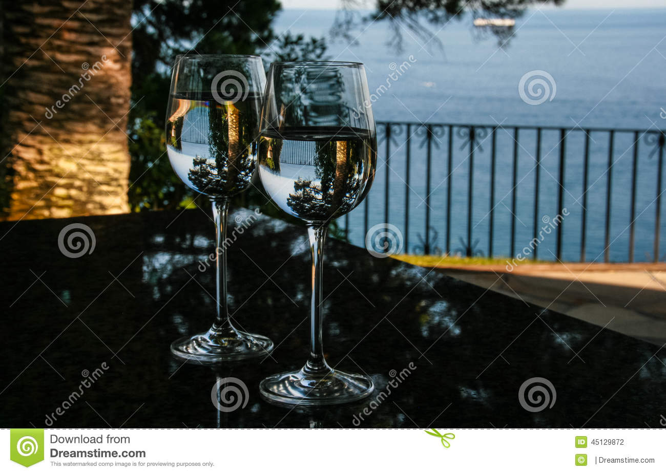 Glasses, water and pines