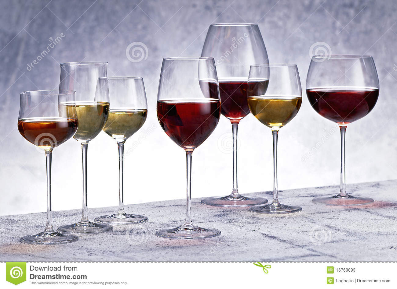 Glasses Of White And Red Wine Stock Photos - Image: 16768093
