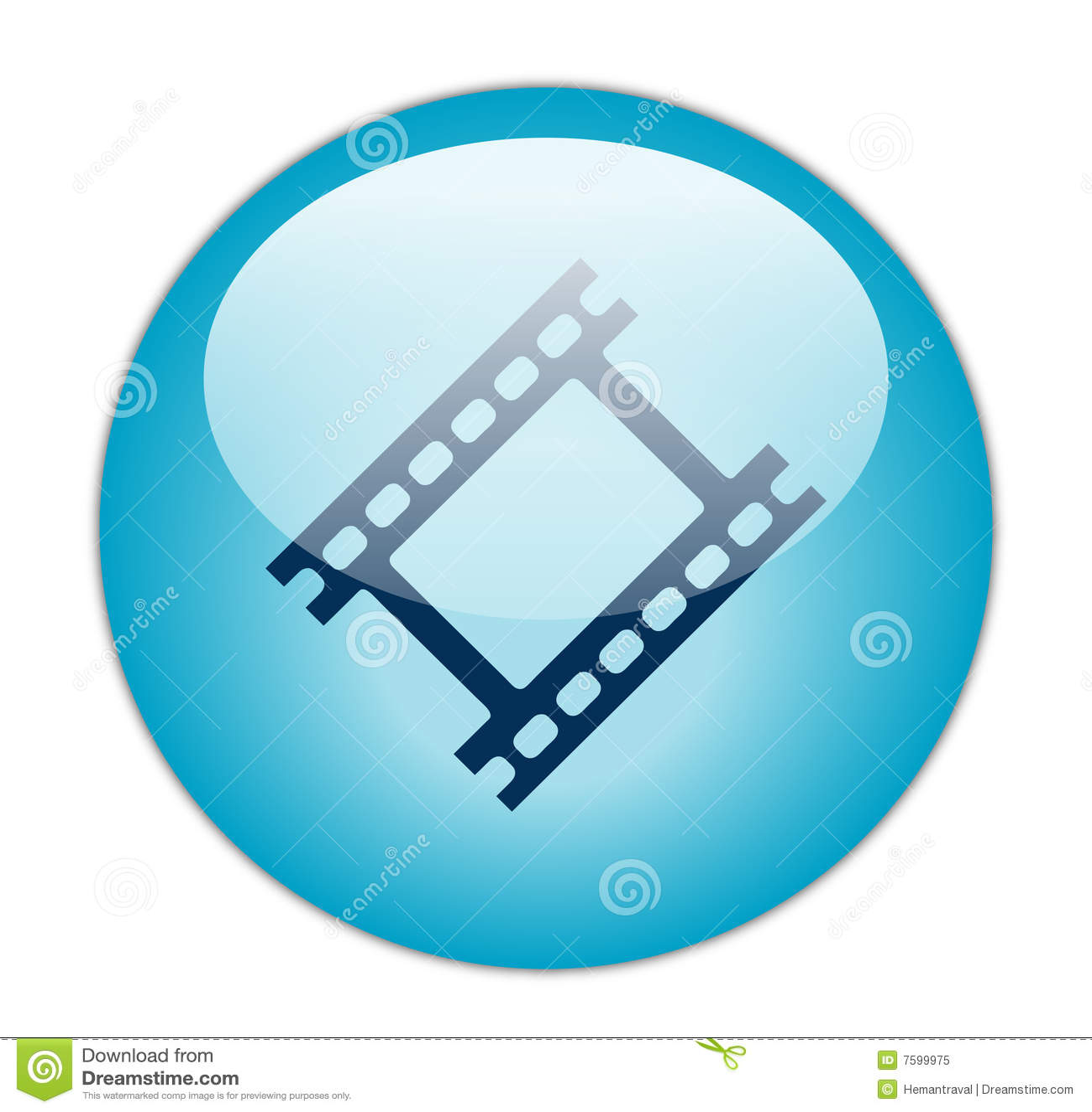 Glassy blue film strip icon stock illustration illustration of.