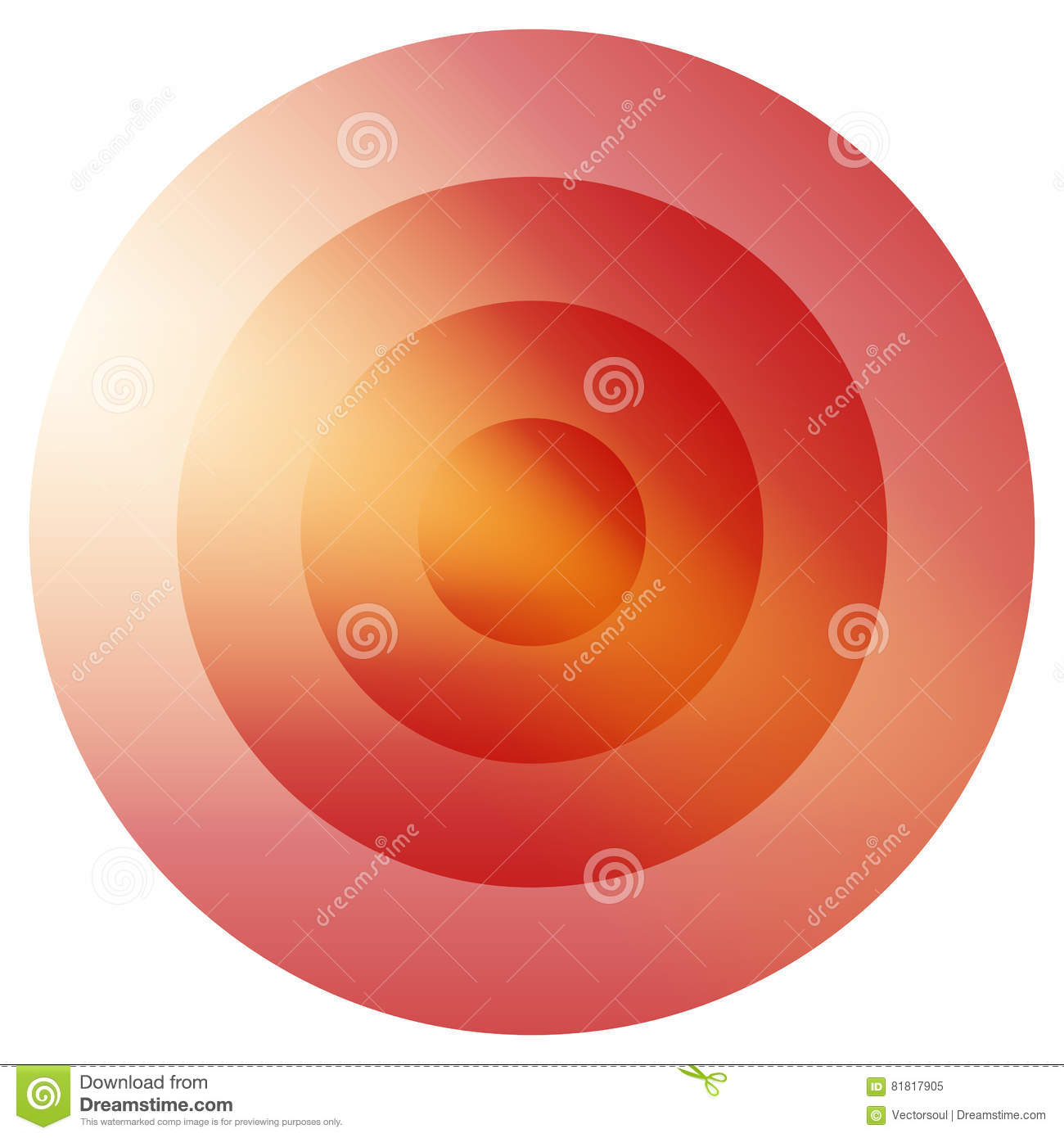 Glassy colorful radiating, concentric circles element. Glowing b