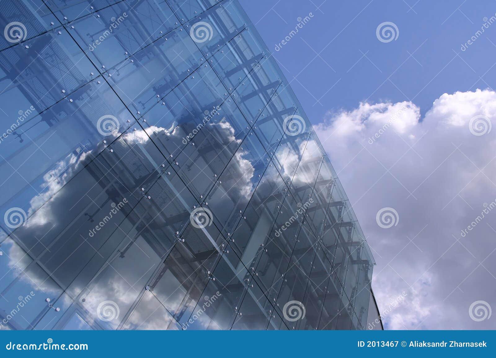 A glassy future edifice on the blue sky