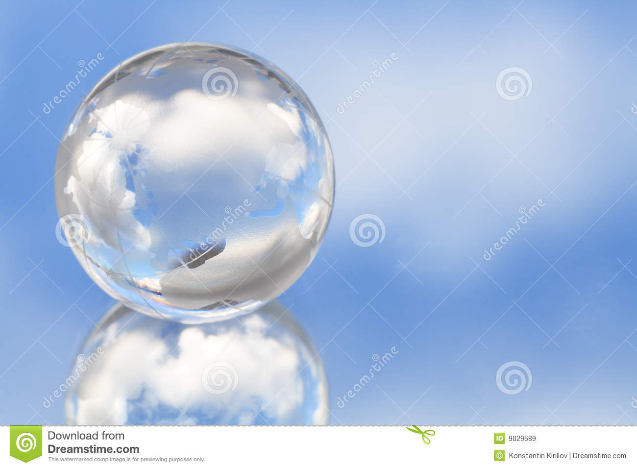Glassy globe in sky