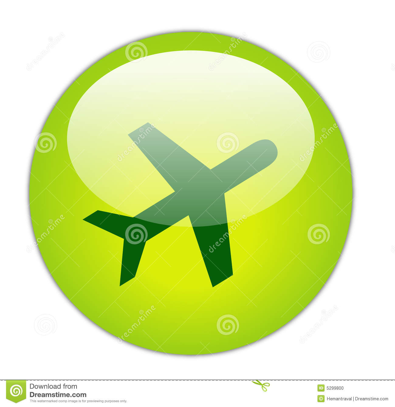 Glassy Green Travel Icon Stock Photo