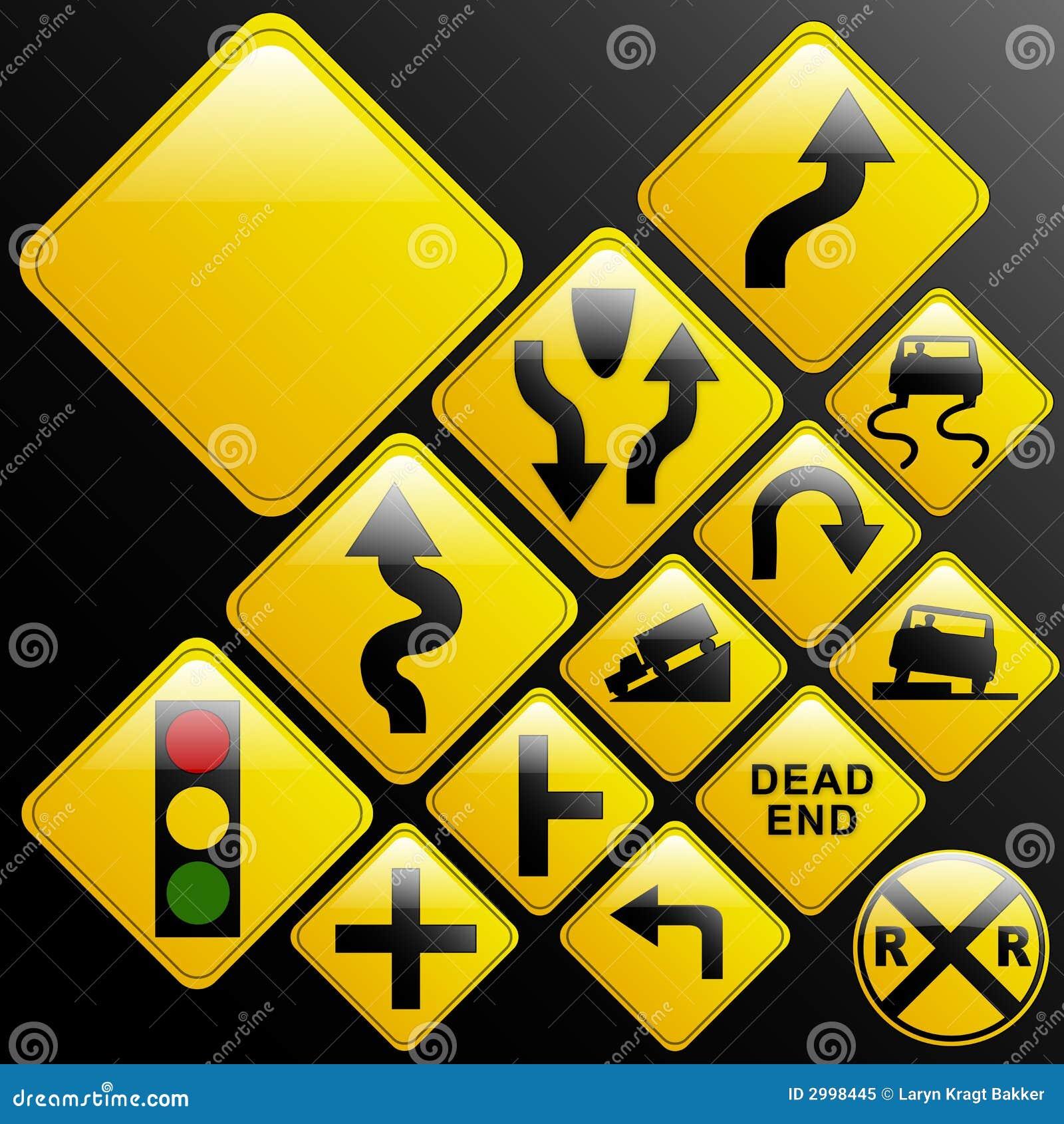Glassy warning road signs