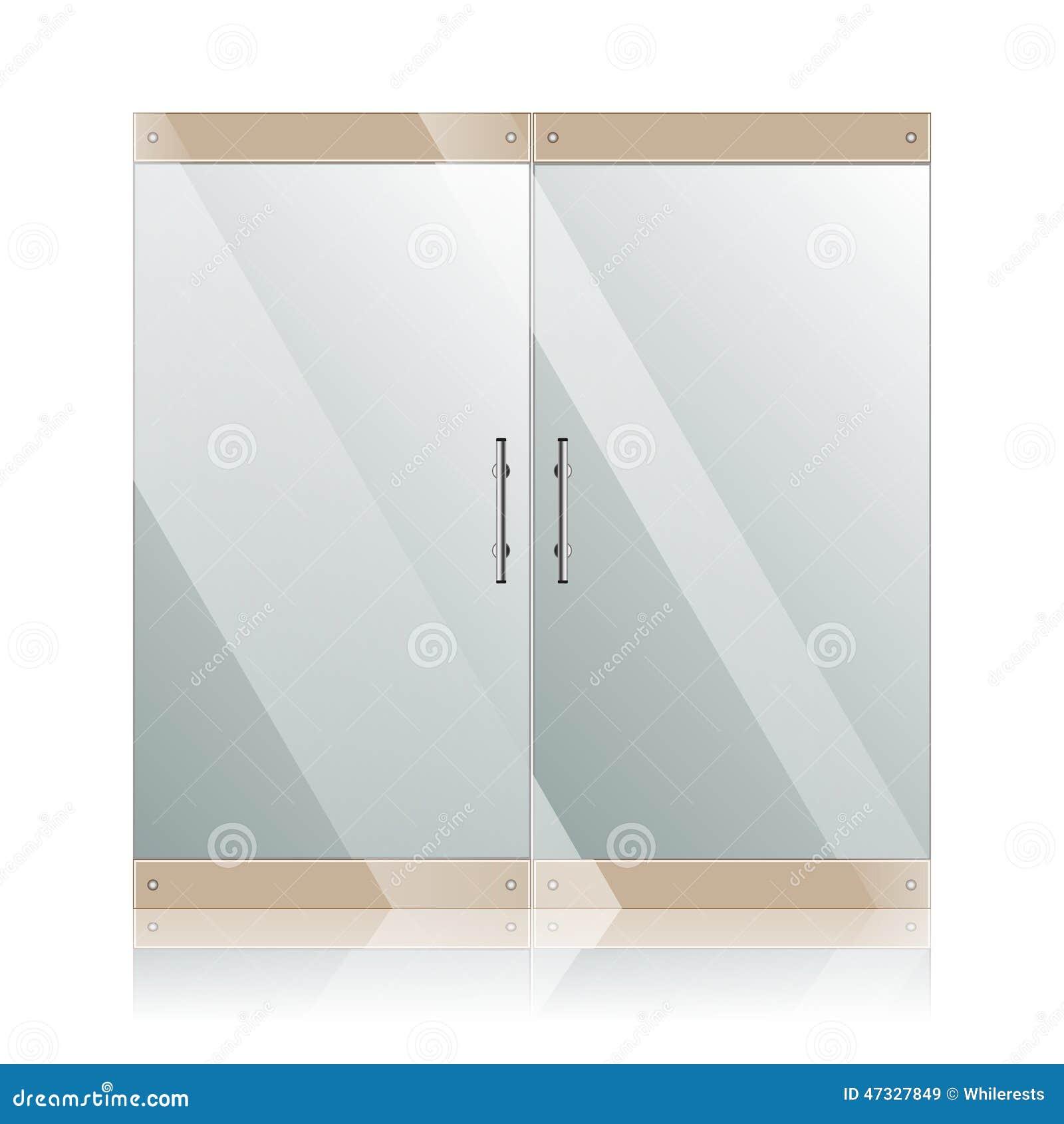 Glastüren Mit Den Chromsilbergriffen Eingestellt Vektor Abbildung ...