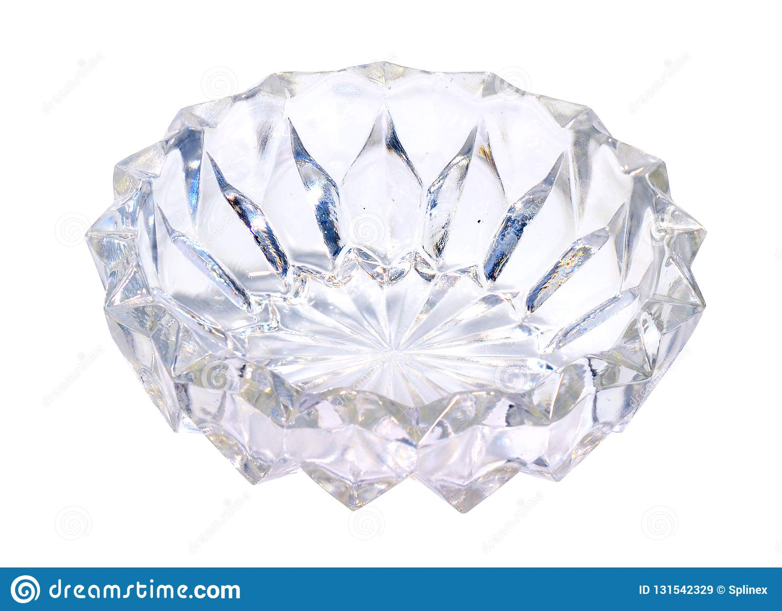 Glasvase oder Teller Getrennt auf weißem Hintergrund