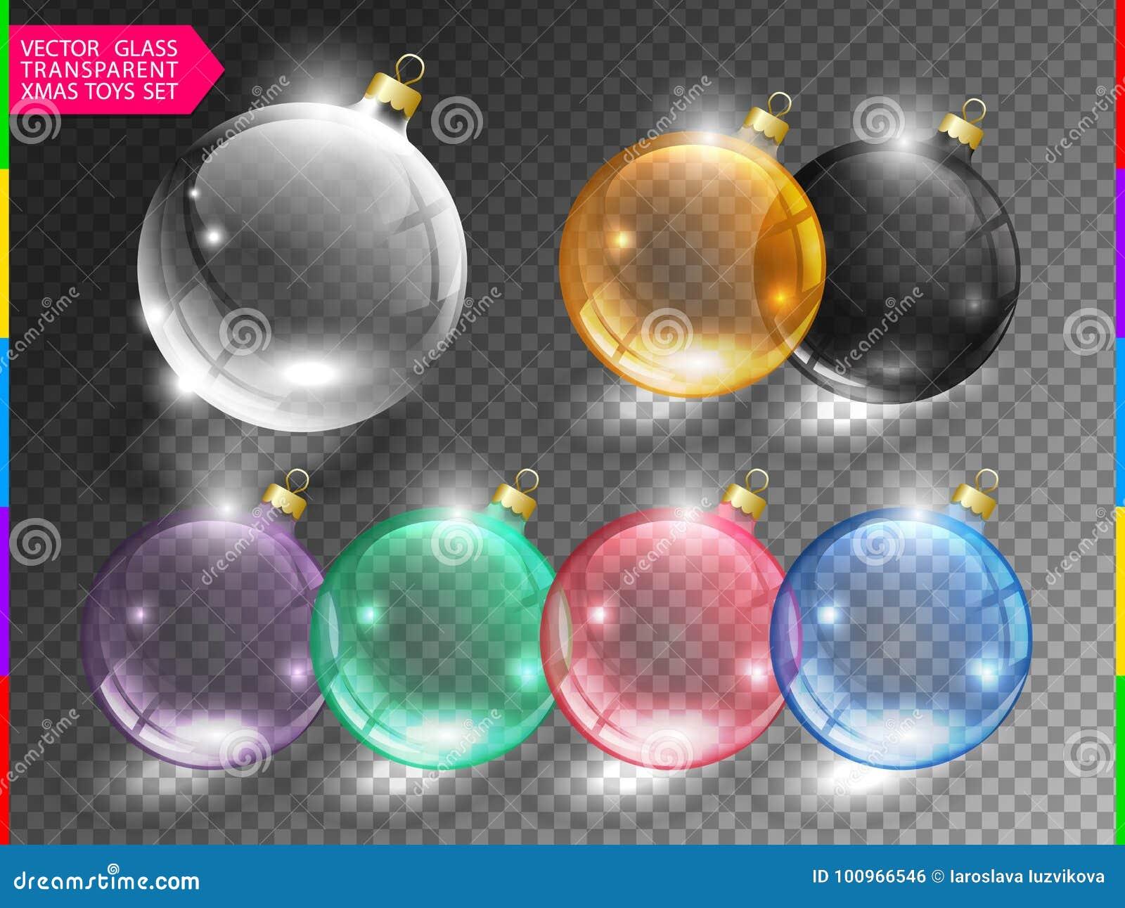 Glasweihnachtsbaum-Ballspielzeug stellte auf transparenten Hintergrund ein Unterschiedliche Farbglatte Weihnachtskugelikone Diese