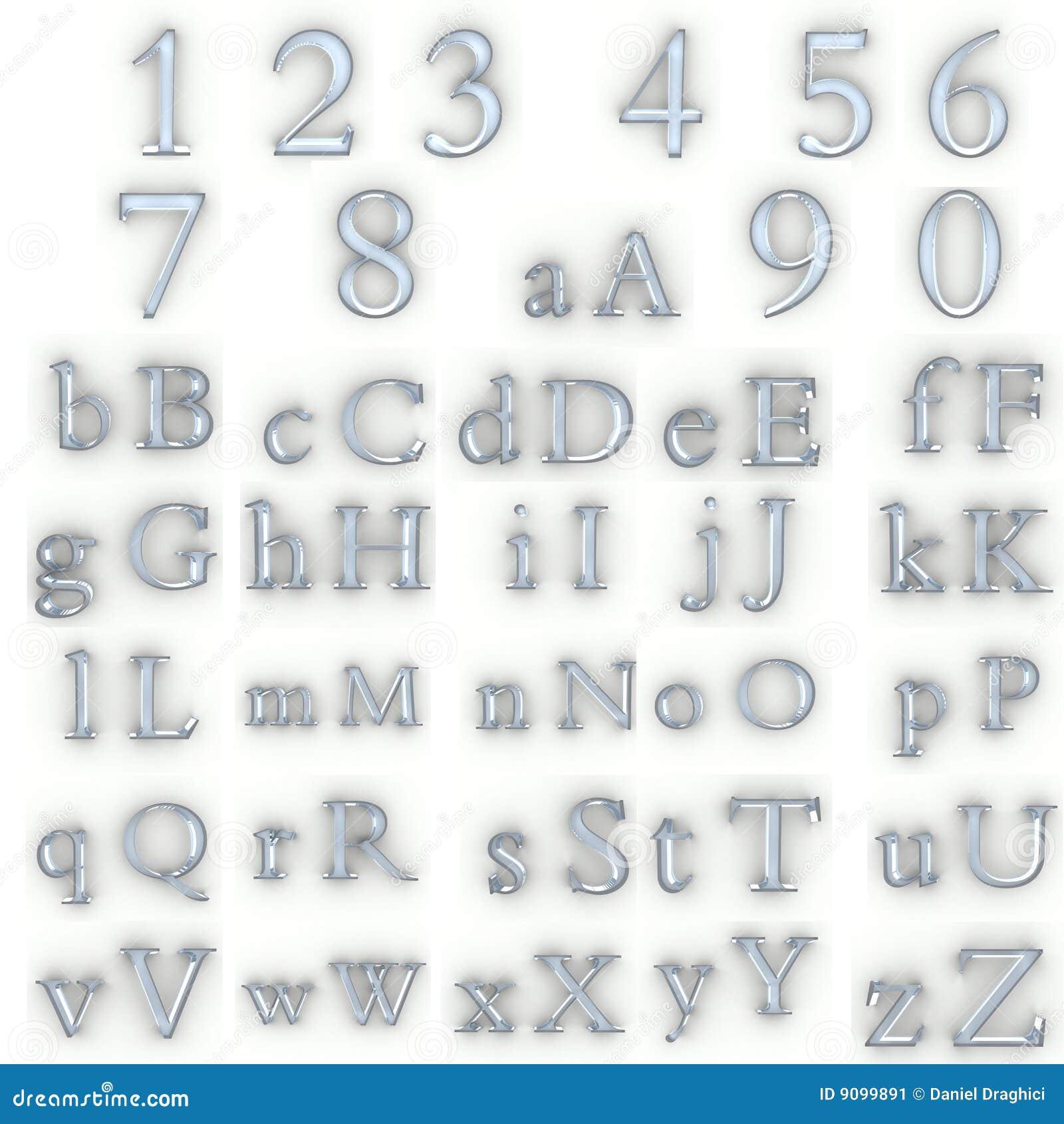 Glaszahlen und Alphabet