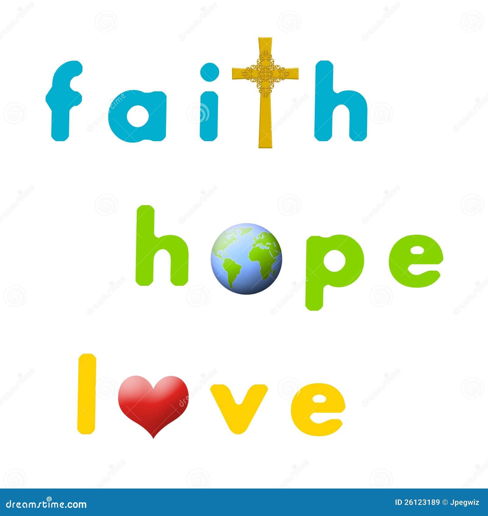 Ganz und zu Extrem Glaube, Hoffnung, Liebe stock abbildung. Illustration von blau &TN_83