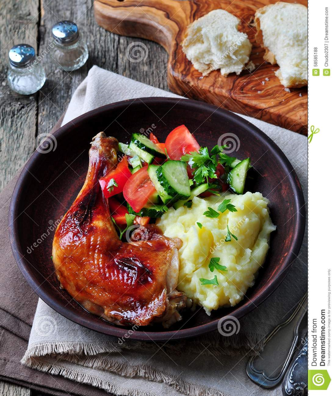 Glazed Roasted Chicken Leg With Mashed Potatoes And Vegetable Salad