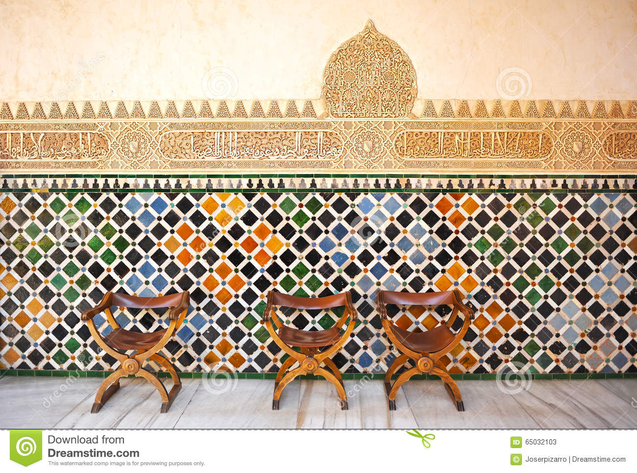 Glazed Tiles Azulejos Medieval Chairs Alhambra Palace
