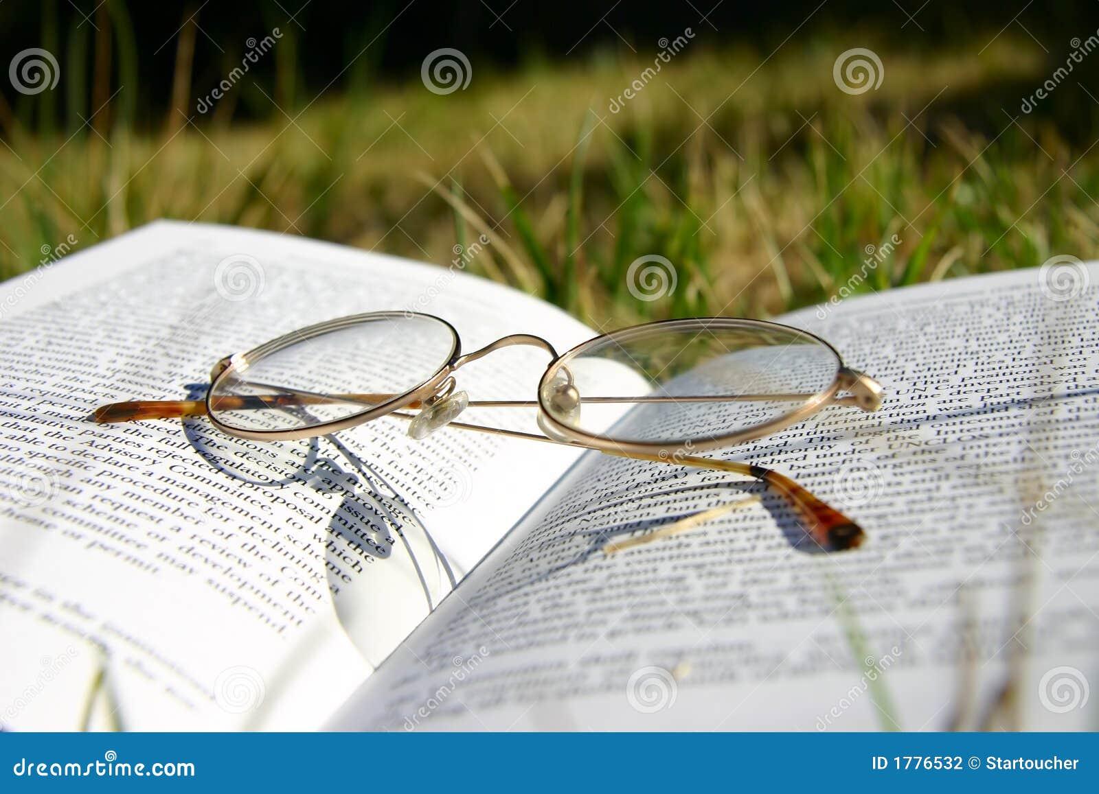 Glazen op een boek met gras