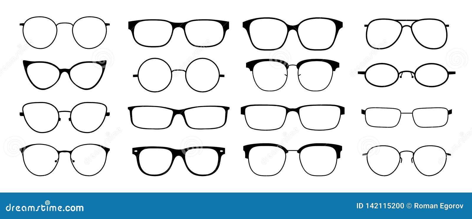 Glazensilhouet De het kaderreeks van zonglazen hipster, vormt zwarte plastic randen, ronde retro nerdglazen van de geekstijl