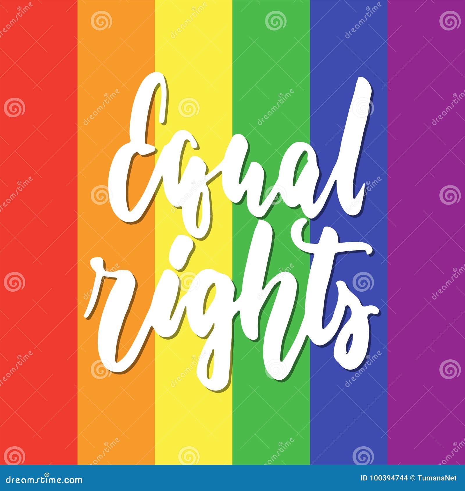 Gleiche Rechte - Gezeichnetes Beschriftungszitat LGBT-Slogans Hand ...