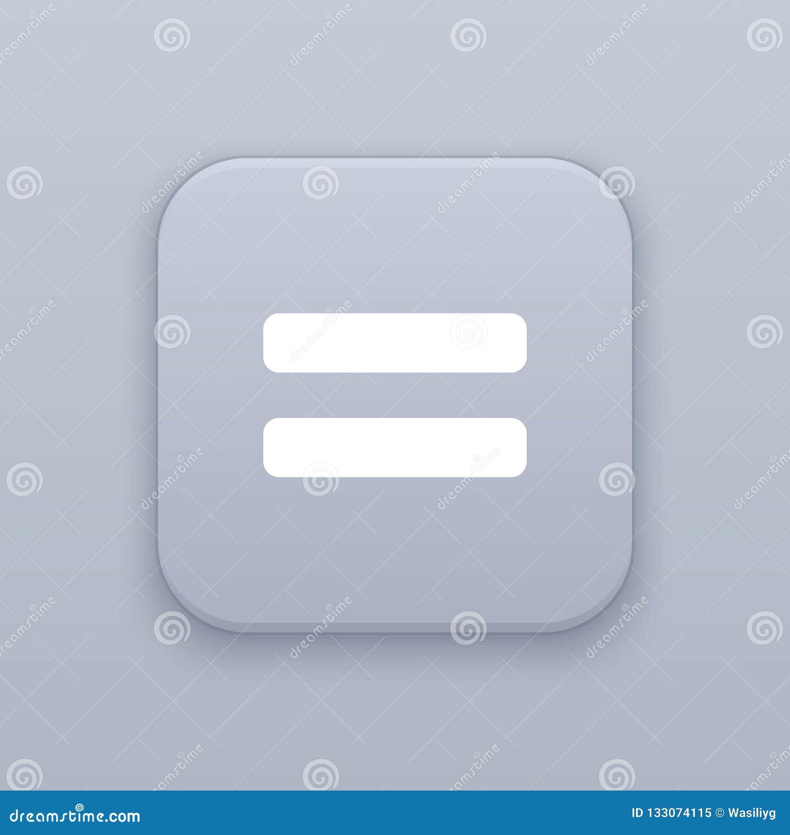 Gleichgestelltes, grauer Vektorknopf mit weißer Ikone