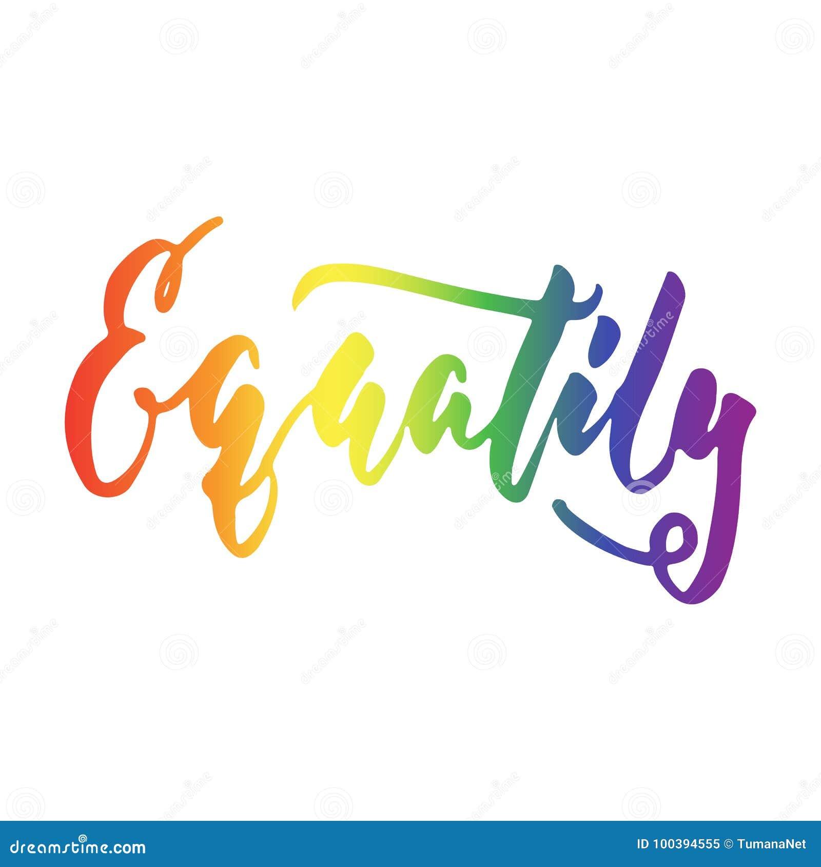 Gleichheit - LGBT-Slogan Regenbogenfarbim Hand Gezeichneten ...