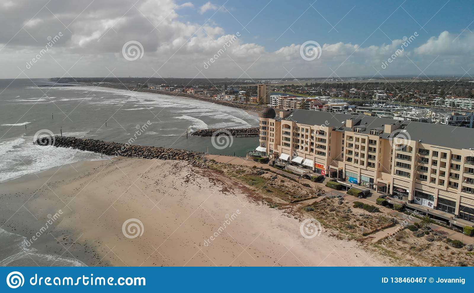 GLENELG, AUSTRALIA - SEPTEMBER 15, 2018: Aerial view of beautiful city skyline on a sunny day. Glenelg is a famous attraction near