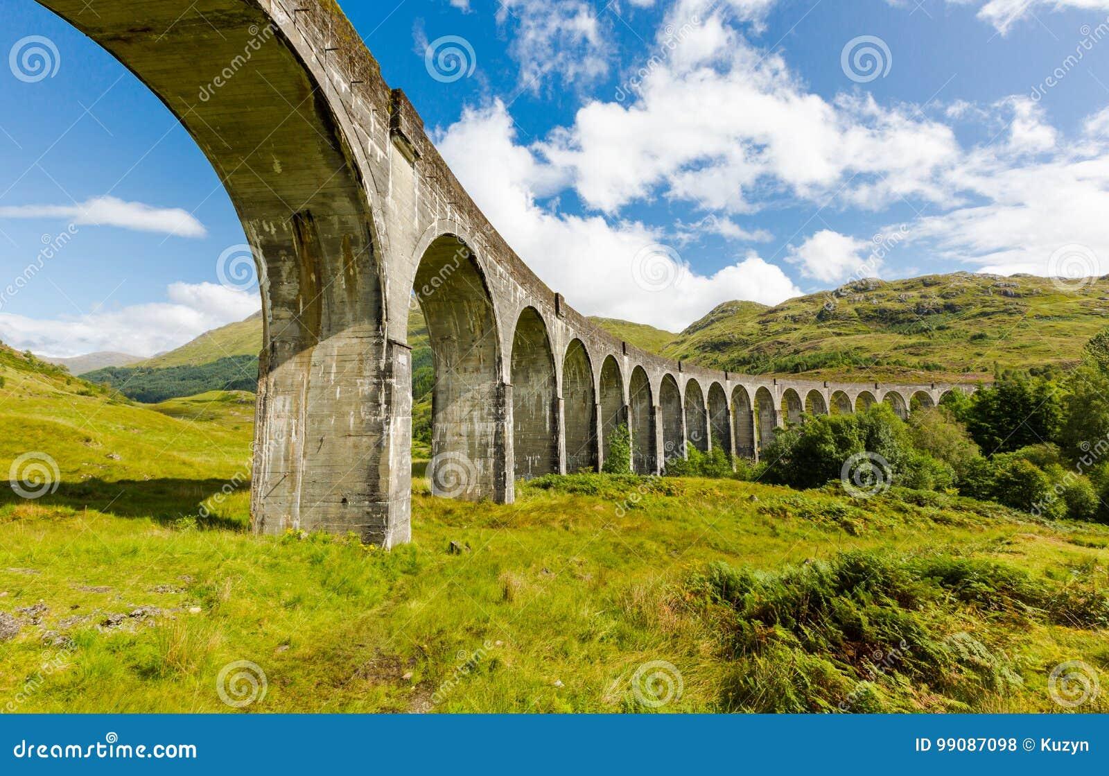 Glenfinnan historic rail viaduct in Scottish Highlands