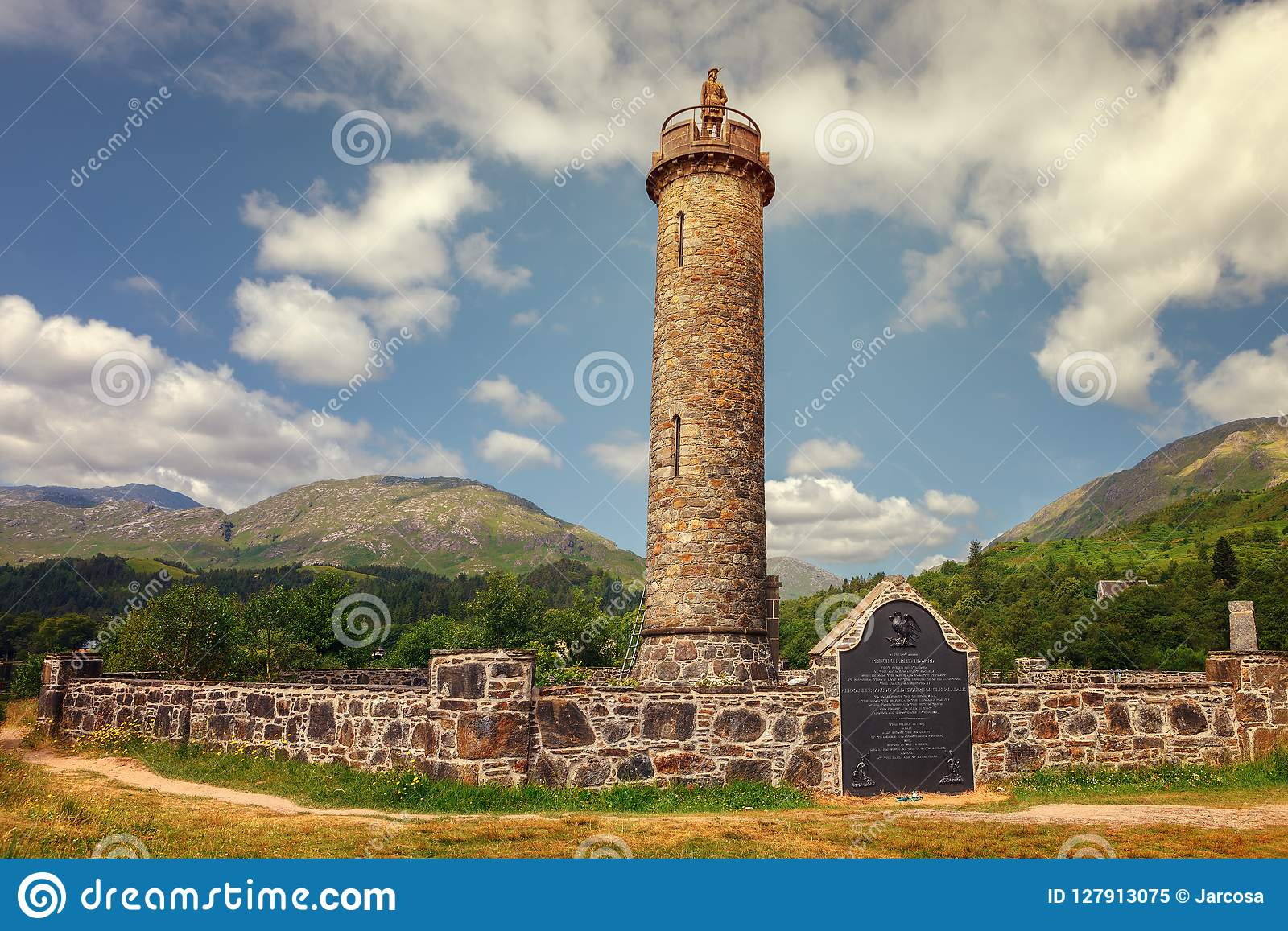 Glenfinnan monument, column topped by a highlander with kilt. Co